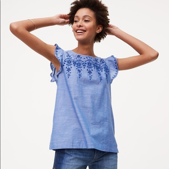 ec213f65639f26 LOFT Tops | Embroidered Flutter Sleeve Top | Poshmark